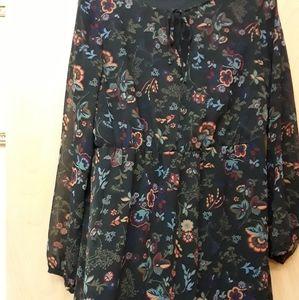 Navy Blue Flowy Peasant Floral Maxi Dress S M